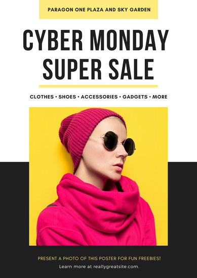 Yellow Cyber Monday Coupon Poster