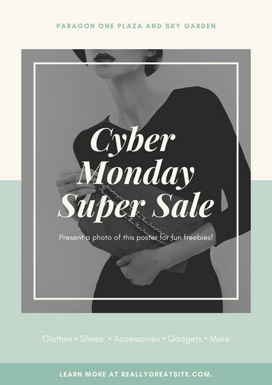 Mint and Cream Cyber Monday Coupons Poster