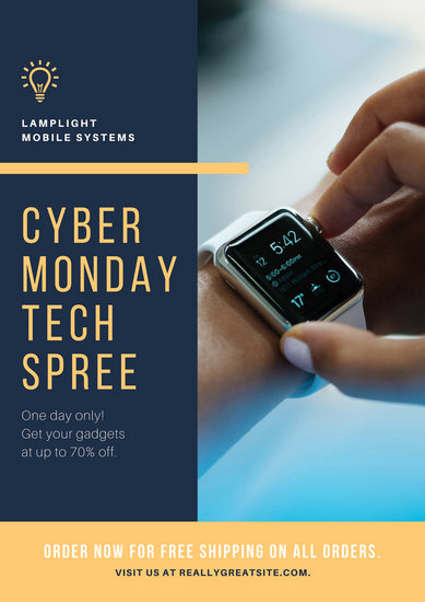 Blue and Yellow Cyber Monday Tech Poster