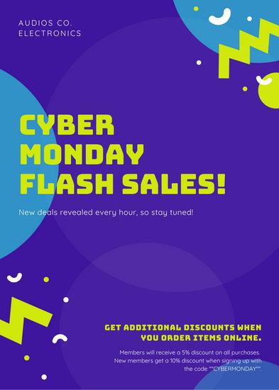 Purple Cyber Monday Sale Announcements Flyer