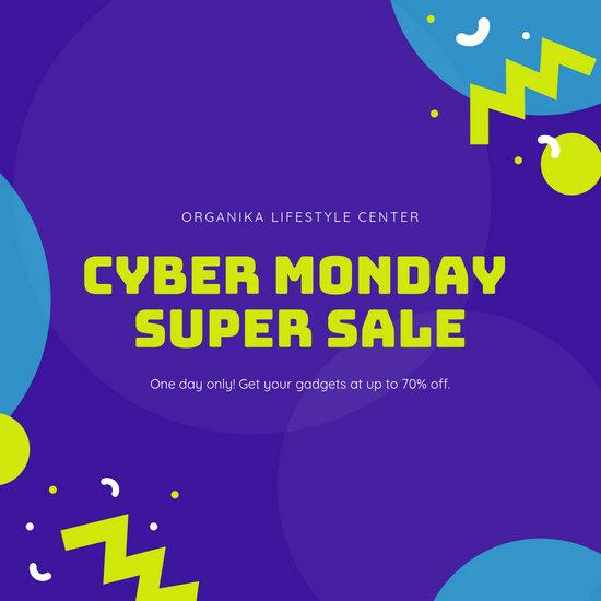 Purple Cyber Monday Sale Announcements Instagram Post
