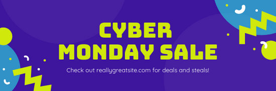 Purple Cyber Monday Sale Announcements Email Header