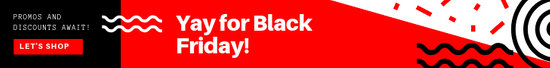 Red Black Friday Discount Leaderboard Ad