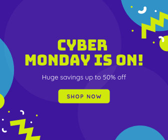 Purple Cyber Monday Sale Announcements Large Rectangle Ad