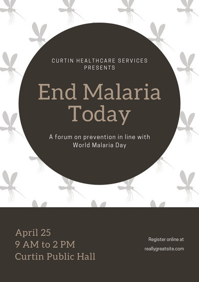 Grey Mosquito Pattern World Malaria Day Poster