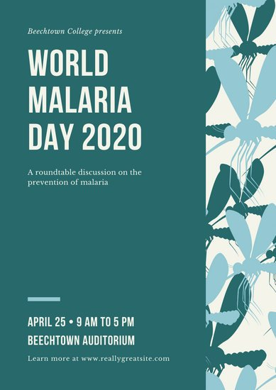 Teal Mosquito Patterned World Malaria Day Poster