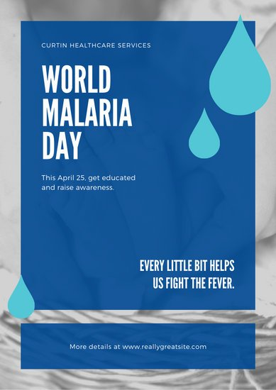 Red and Blue Drops World Malaria Day Poster