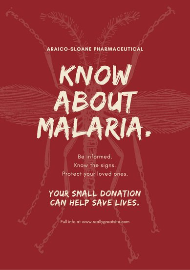 Red Hand Drawn World Malaria Day Poster