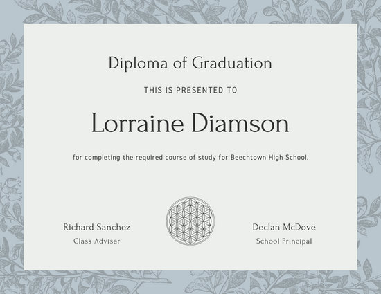 Dimgray Flowers High School Diploma Certificate