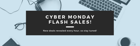 Blue Cyber Monday Sale Announcement Email Header