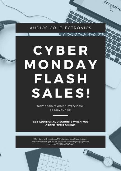 Blue  Cyber Monday Satle Announcement Flyer