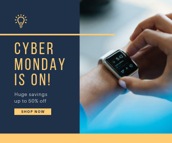 Blue and Yellow Cyber Monday Sale Announcement Large Rectangle Ad
