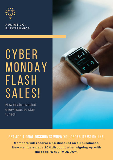 Blue and Yellow Cyber Monday Sale Announcement Flyer