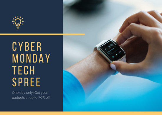 Blue and Yellow Cyber Monday Sale Announcement Postcard