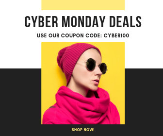 Yellow Cyber Monday Coupon Large Rectangle Banner