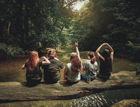 Five Women Sitting On Tree Trunk