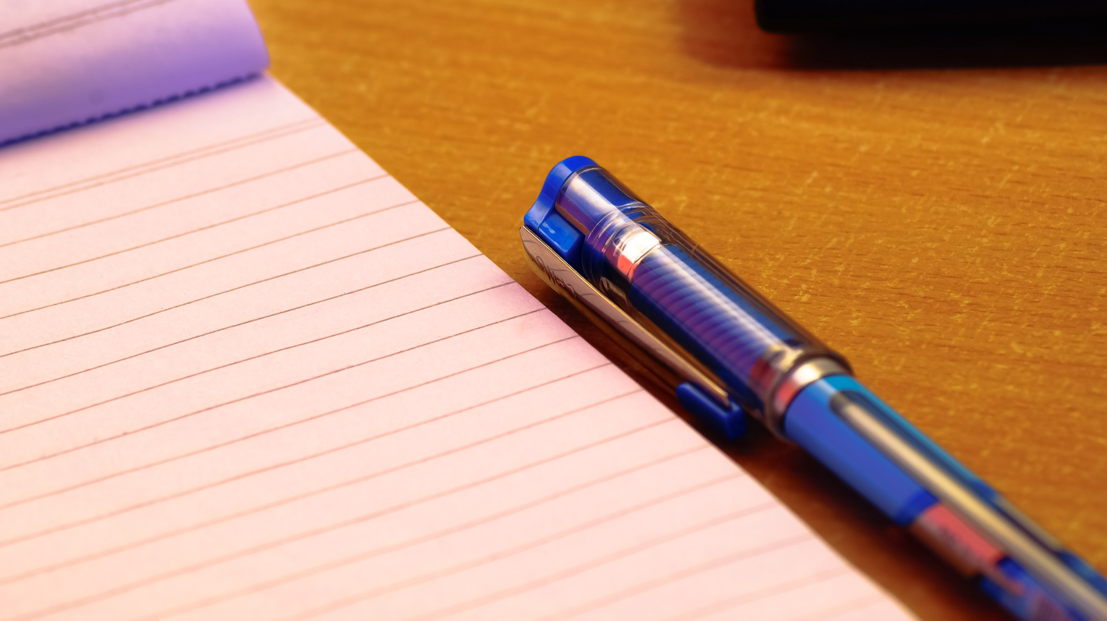Blue Ball-point Pen Next to Notepad
