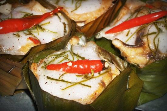 Thai Food Steamed Fish Curry Custard Stock Photo