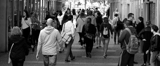 Grayscale Photography of People Walking Near Buildings