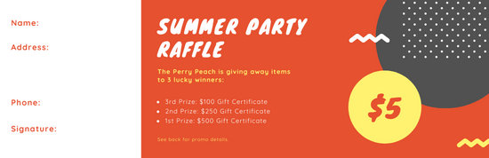 Orange Yellow Summer Party Funky Raffle Ticket