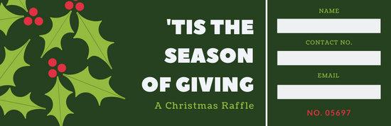 Green Holly Christmas Raffle Ticket