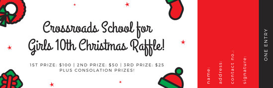 Red and Green Icons Christmas Raffle Ticket