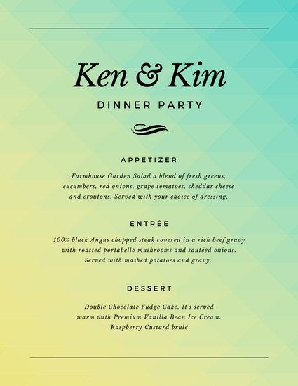 Simple Gradient Dinner Party Menu