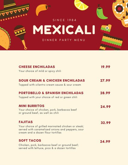 Red with Icons Mexican Dinner Party Menu