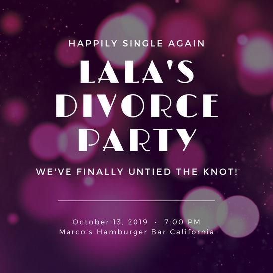 Pink Bokeh Photo Background Divorce Party Invitation