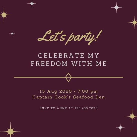 Maroon Gold Divorce Party Invitation