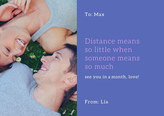 Purple Love Distance Couple Postcard