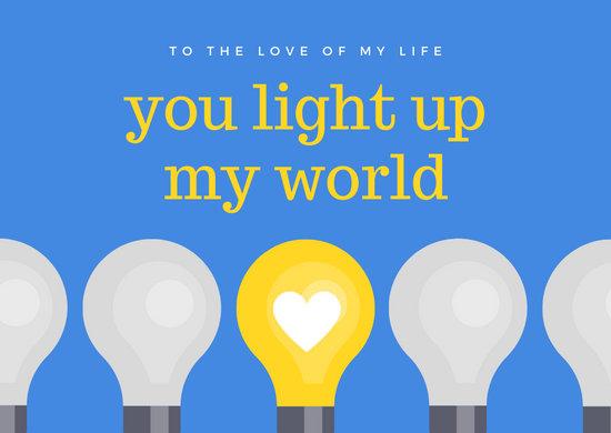 Bulb with Heart Love Postcard