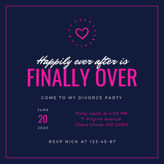 Navy Pink Simple Neon Heart Divorce Party Invitation