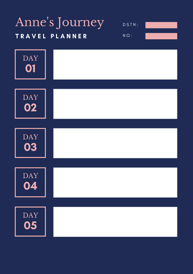 Pink Navy Fancy Chevron Itinerary Planner
