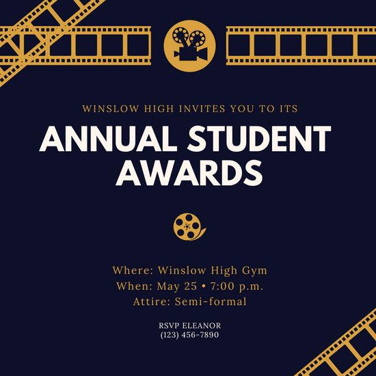 Black and Gold Movie Films Awards Night Invitation