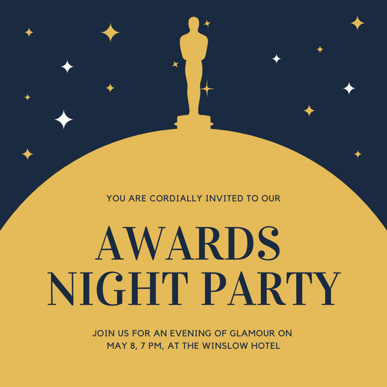 Gold and Blue Statue Awards Night Invitation