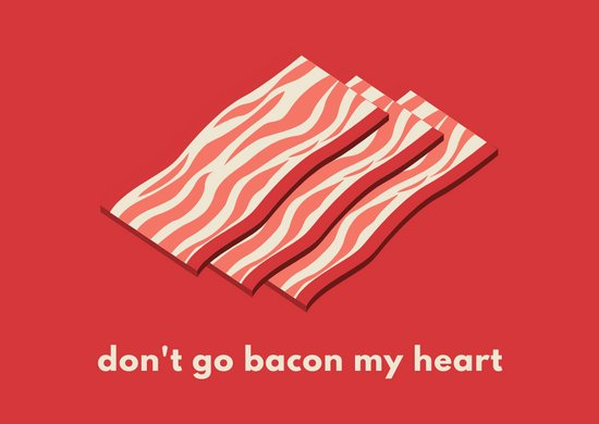 Red Illustrated Bacon Love Postcard