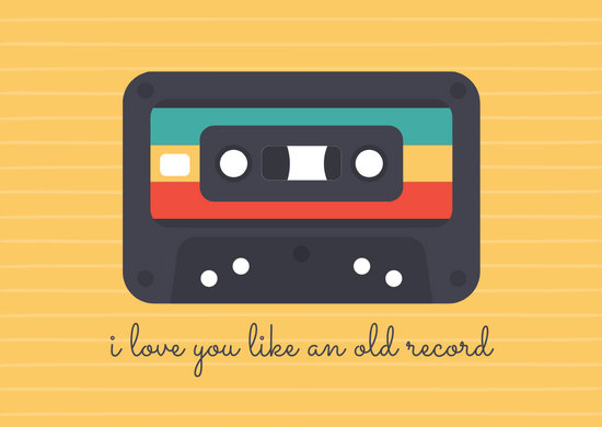 Yellow Lines Cassette Love Postcard