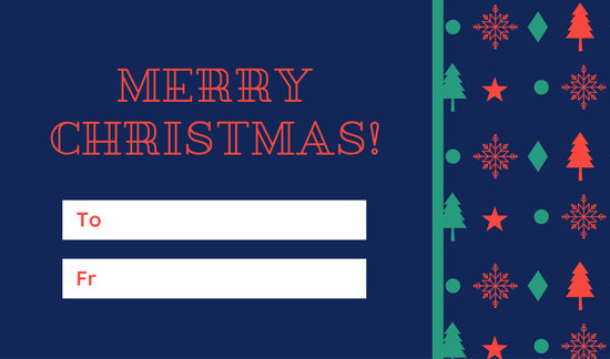 Blue, Green and Red Patterned Christmas Tag