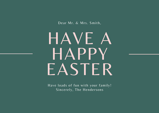 Light Yellow & Blue Easter Greeting Card