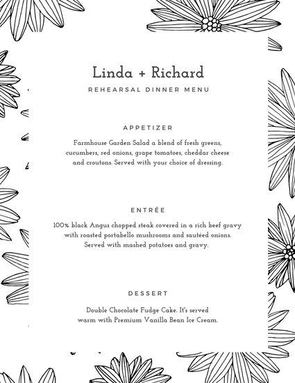 White Floral Pattern Rehearsal Dinner Menu
