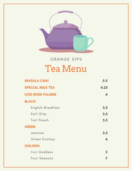 Orange Tea and Pot Drinks Menu