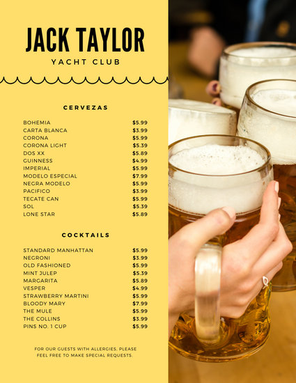 Yellow and Beer Photo Drink Menu