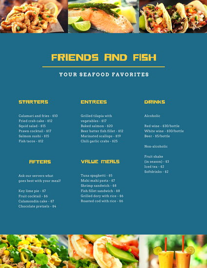 Blue and Yellow Seafood Food and Drink Menu
