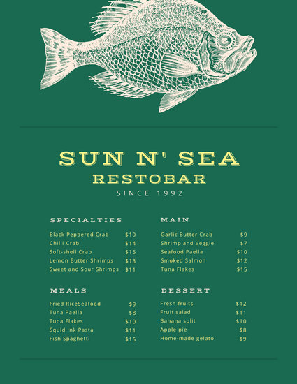 Vintage Fish Illustration Seafood Food and Drink Menu