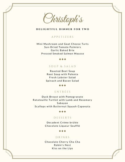 Gold Valentine's Day Food and Drink Menu