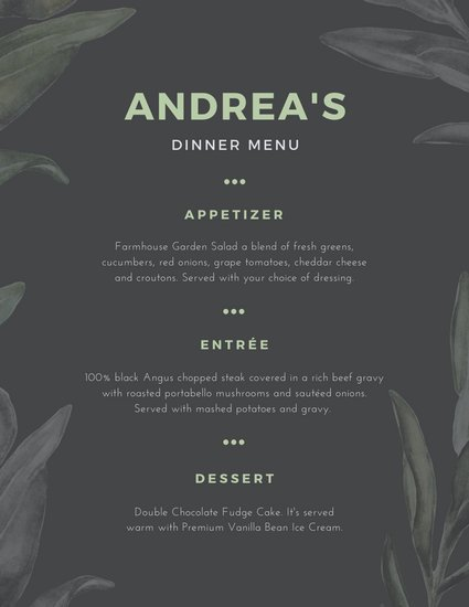 Green and Gray Leaves Dinner Menu