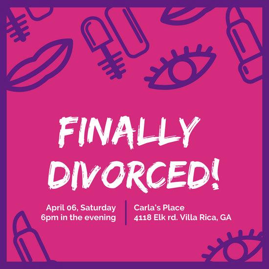Hot Pink Divorce Party Ideas Invitation