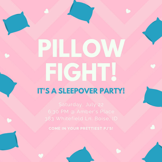 Pink Teal Hearts Pillow Fight Sleepover Girls Invitation