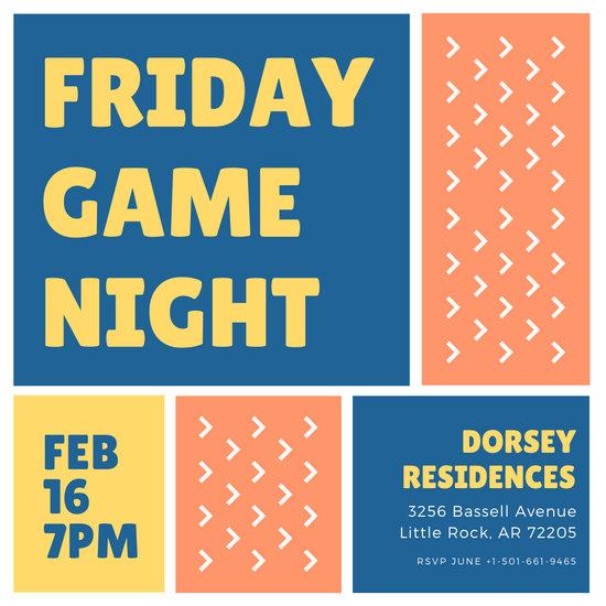 Color Blocks Game Night Invitation